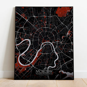 Mapospheres Moscow Red dark full page design poster city map