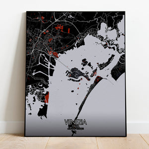 Mapospheres Venice Red dark full page design poster city map