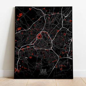 Mapospheres Lille Red dark full page design poster city map