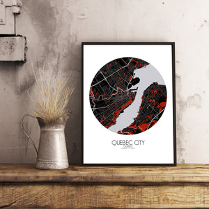 Mapospheres Quebec Red dark round shape design poster city map