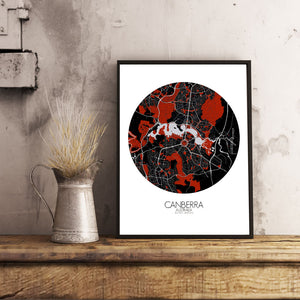Mapospheres Canberra Red dark round shape design poster city map