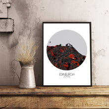 Load image into Gallery viewer, Mapospheres Edinburgh Red dark round shape design poster city map
