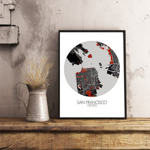 Load image into Gallery viewer, Mapospheres San Francisco Red dark round shape design poster city map