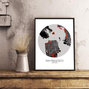 Mapospheres San Francisco Red dark round shape design poster city map