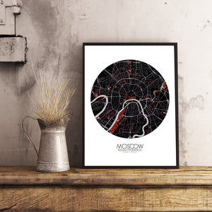 Mapospheres Moscow Red dark round shape design poster city map