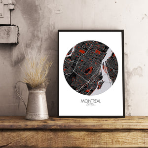 Mapospheres Montreal Red dark round shape design poster city map