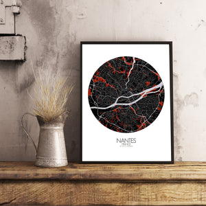 Mapospheres Nantes Red dark round shape design poster city map