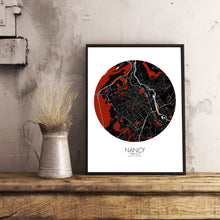 Load image into Gallery viewer, Mapospheres Nancy Red dark round shape design poster city map