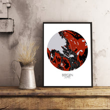 Load image into Gallery viewer, Mapospheres Bergen Red dark round shape design poster city map