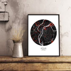 Mapospheres Lyon Red dark round shape design poster city map