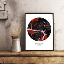 Load image into Gallery viewer, Mapospheres Bratislava Red dark round shape design poster city map