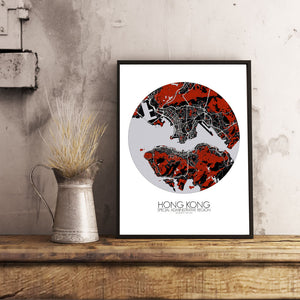 Mapospheres Hong Kong Red dark round shape design poster city map