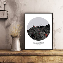 Load image into Gallery viewer, Mapospheres Casablanca Red dark round shape design poster city map