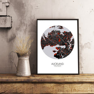 Auckland Red dark round shape design poster city map
