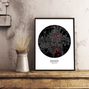 Bishkek Red dark round shape design poster city map