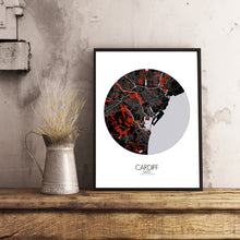 Load image into Gallery viewer, Cardiff Red dark round shape design poster city map