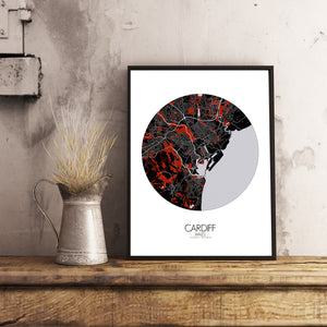 Cardiff Red dark round shape design poster city map