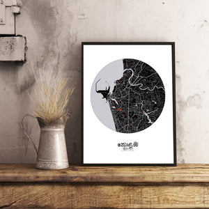 Mapospheres Colombo Red dark round shape design poster city map