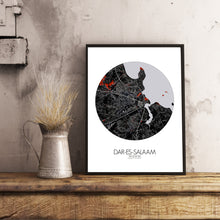 Load image into Gallery viewer, Dar Es Salaam Red dark round shape design poster city map