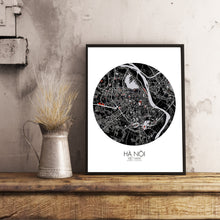Load image into Gallery viewer, Hanoi Red dark round shape design poster city map