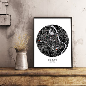 Hanoi Red dark round shape design poster city map