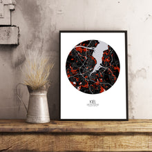 Load image into Gallery viewer, Kiel Red dark round shape design poster city map