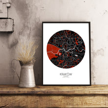 Load image into Gallery viewer, Krakow Red dark round shape design poster city map