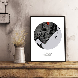 Maputo Red dark round shape design poster city map