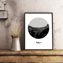 Load image into Gallery viewer, Muscat Red dark round shape design poster city map