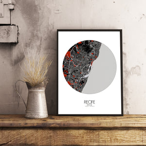 Recife Red dark round shape design poster city map