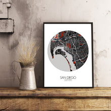 Load image into Gallery viewer, Mapospheres San Diego Red dark round shape design poster city map