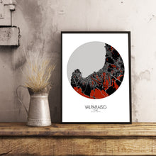 Load image into Gallery viewer, Aberdeen Red dark round shape design poster city map