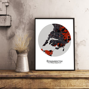 Aberdeen Red dark round shape design poster city map