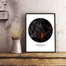 Load image into Gallery viewer, Mapospheres Marrakesh Red dark round shape design poster city map