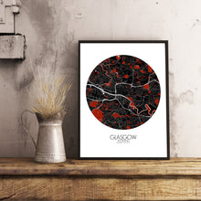 Load image into Gallery viewer, Mapospheres Glasgow Red dark round shape design poster city map