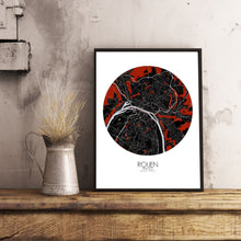 Load image into Gallery viewer, Mapospheres Rouen Red dark round shape design poster city map