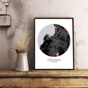 Mapospheres Cape Town Red dark round shape design poster city map