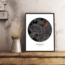 Load image into Gallery viewer, Mapospheres Santiago Red dark round shape design poster city map