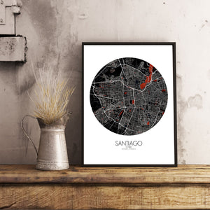 Mapospheres Santiago Red dark round shape design poster city map