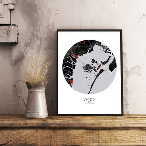Mapospheres Venice Red dark round shape design poster city map
