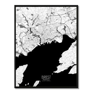 Mapospheres Brest Black and White full page design poster city map