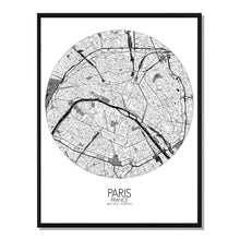 Load image into Gallery viewer, Mapospheres Paris Black and White round shape design poster city map