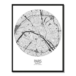 Mapospheres Paris Black and White round shape design poster city map