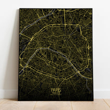 Load image into Gallery viewer, Mapospheres Paris Night full page design poster city map