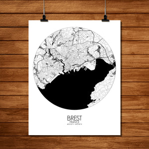 Mapospheres Brest Black and White round shape design poster city map