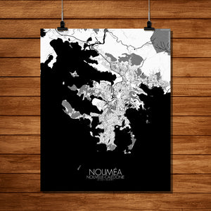 Mapospheres Noumea Black and White full page design poster city map