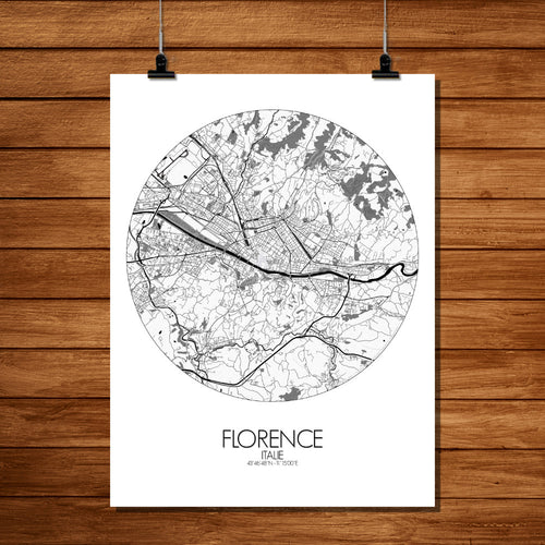 Mapospheres Florence Black and White dark round shape design poster city map