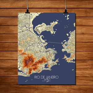 Mapospheres Rio de Janeiro Elevation map full page design poster city map