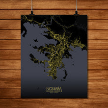 Load image into Gallery viewer, Mapospheres Noumea Night full page design poster city map