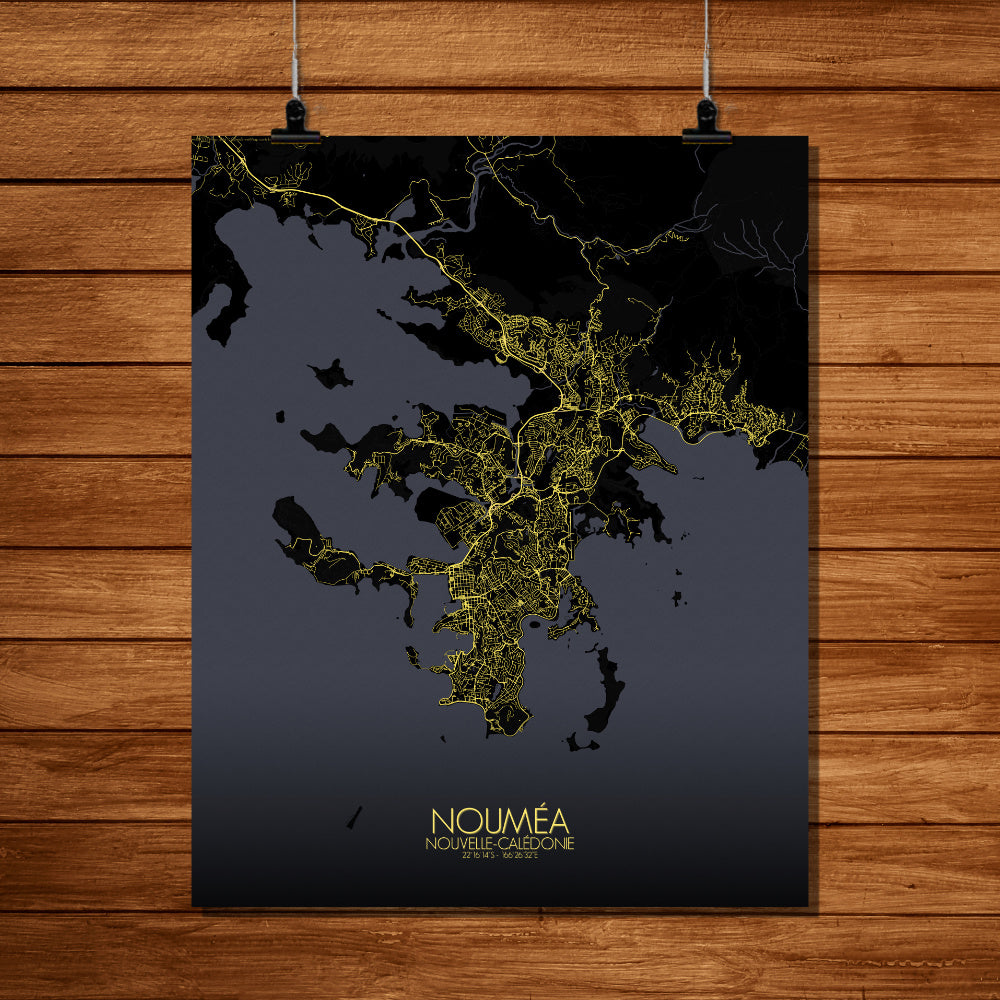 Mapospheres Noumea Night full page design poster city map